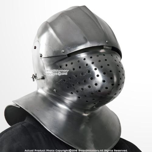 16G Steel Italian Medieval Functional Sparring Helmet Neck Armor WMA SCA LARP