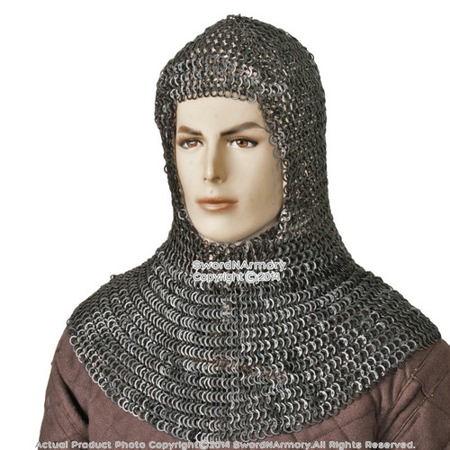 Black Medieval Chainmail Coif Flat Ring Wedge Riveted (Alt) 9mm 18G Steel SCA