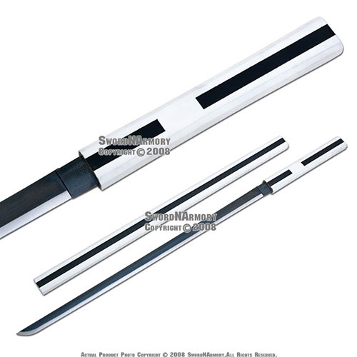 Sasuke Uchiha Sword of Kusanagi White Anime Katana Shirasaya Sharp Blade