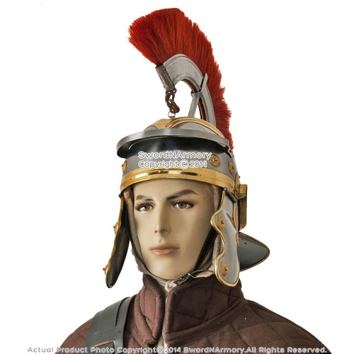 Imperial Itallic Roman Officer Helmet with Liner & Detachable Plume Costume LARP