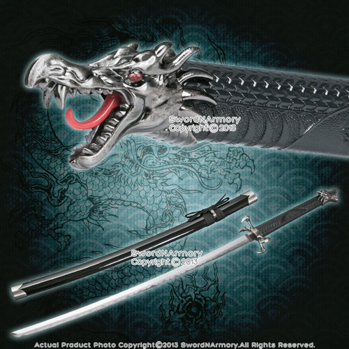 Black Torch Dragon Fantasy Samurai Katana Sword with Four Claws Style Guard