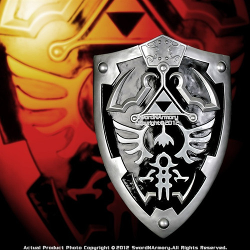 Black and Silver Zelda Shield with Grip & Handle