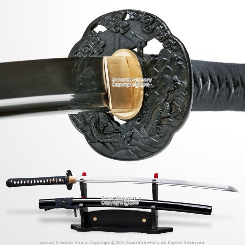 Musashi Handmade Samurai Sword T10 Steel Differentially Hardened Katana w/ Bohi