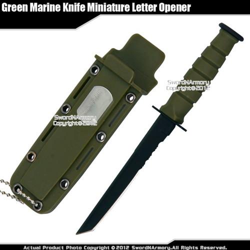 Green Small Marine Knife Replica Letter Opener Mini Dagger Tanto Serrated Edge
