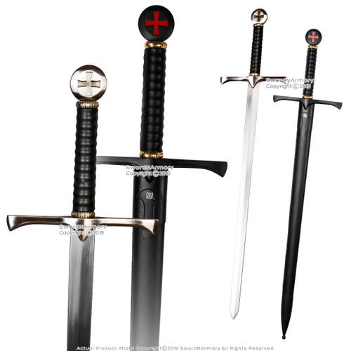 "41"" Templar Crusader Medieval Knight's Arming Sword with Scabbard Cross Pommel"