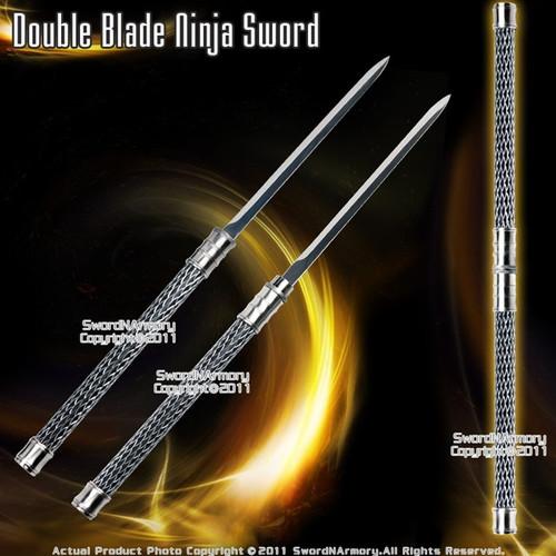 2 in 1 Black Double Bladed Ninja Sword Staff Spear Short