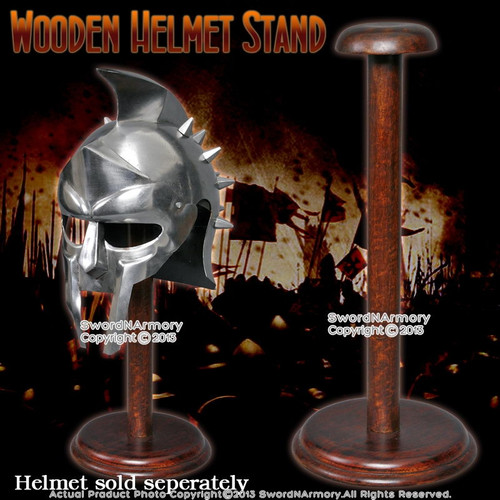"""17"""" Solid Wooden Display Stand for Medieval Helmet Roman Viking Armor Round Base"""