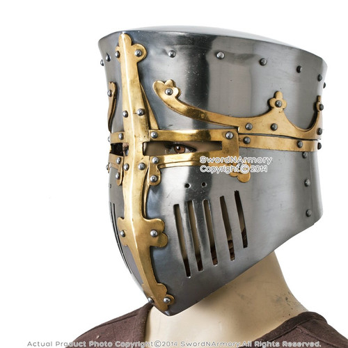 Functional Medieval Great Bucket Barrel Helm Pot Helmet w/ Brass 16G Steel SCA