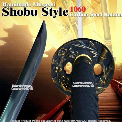 Handmade Musashi Shobu Style 1060 Carbon Steel Katana