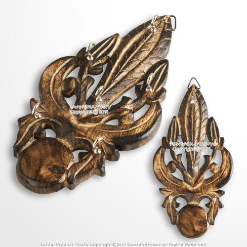 Wooden Burnt Medieval Style Fleur de Lis Cutout Six Keychain Holder Rack Plaq