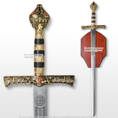"""46"""" Richard the Lion Heart  Medieval King Knight Crusader Sword with Plaque"""