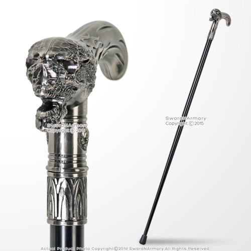 "35"" Skull Flame Head T Style Handle Metal Shaft Gentlemen Walking Cane Stick"