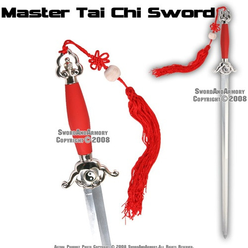 Red Master Chinese Tai Chi Practice Sword Well Balanced Stiff Blade