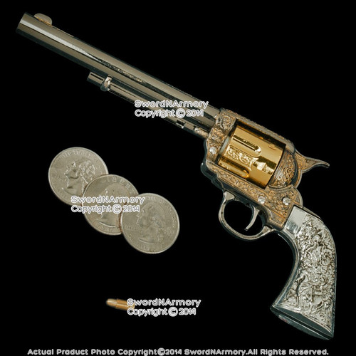 "7"" Miniature Western Cowboy .45 M1873 Revolver Pistol Replica Gun with Case"