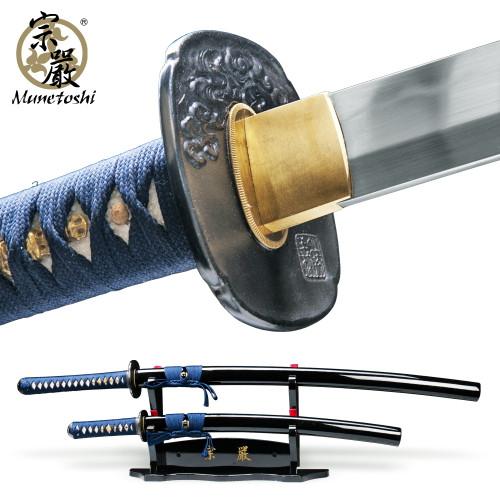 Munetoshi Water Dragon Handmade Differentially Hardened Samurai Sword Daisho Set
