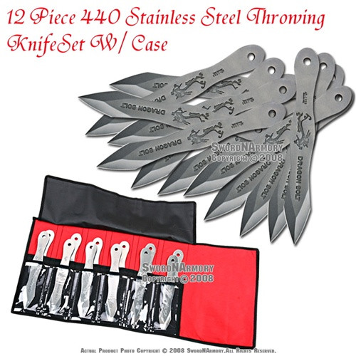 12 Piece 440 Stainless Steel Throwing Knife Set With Case