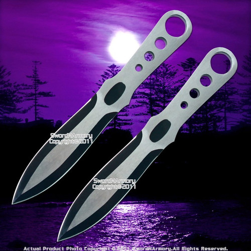 "7.25"" Set os 2 Stainless Steel Throwing Knife Darts Throwers Ring Hilt w/ Sheath"