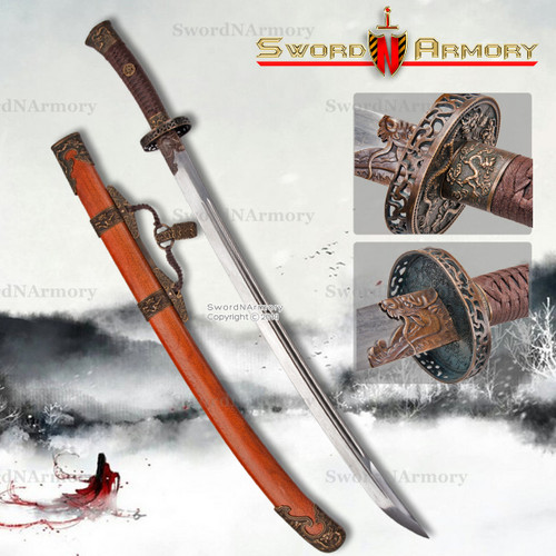 Deluxe Qing Dynasty Chinese Sword Baoteng Dao Museum Replica Saber Folded Steel