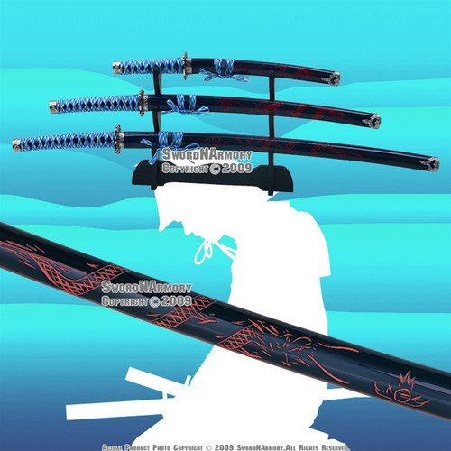 4 PCS Blue Classic Dragon Japanese Samurai Sword Set