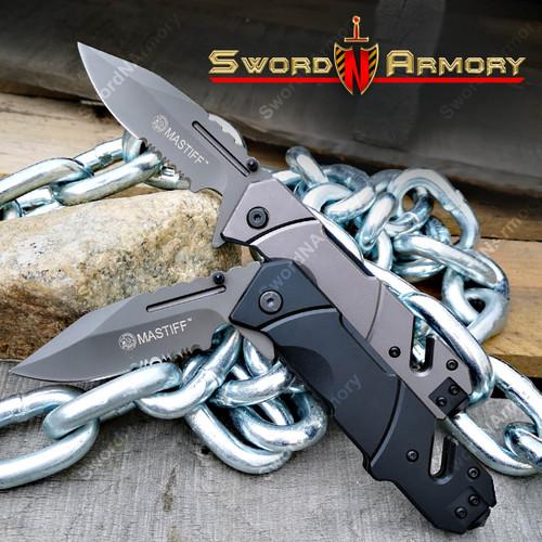 Mastiff Rescue Folding Assiste Opening Tactical Knife 7CR17MOV Steel Belt Cutter