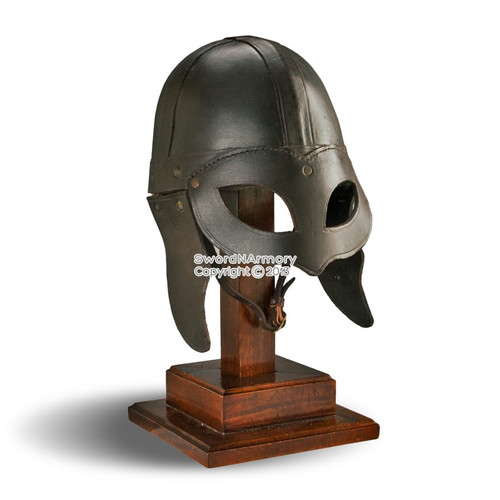 Wearable Viking Warrior Leather Beowolf Helmet w/ Linner & Chin Strap LARP SCA