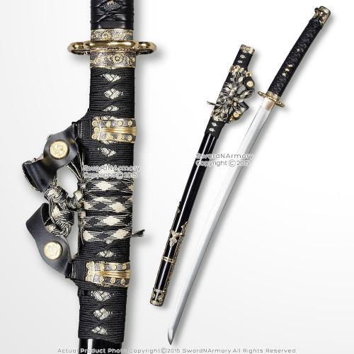 Musha 1045 Through Hardened Steel Tachi Katana Leather Handle Samurai Sword BK