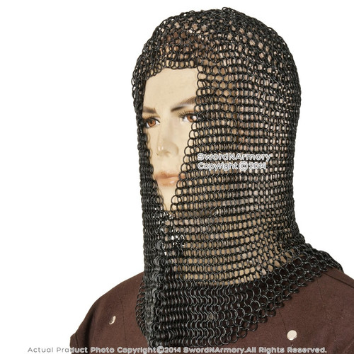 Black Medieval Chainmail Hood Coif Butted MildSteel LARP Renaissance Reenactment