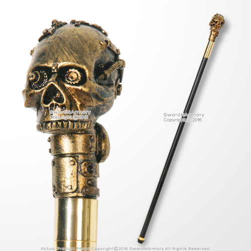 "37"" Steampunk American Wild West Distressed Mechanical Skull Walking Cane Stick"