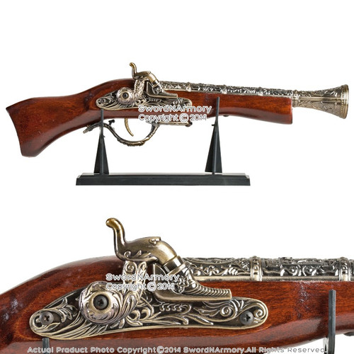 "17"" Decorative Naval Pirate Toy Gun Flintlock Blunderbuss Replica Pistol w/Stand"