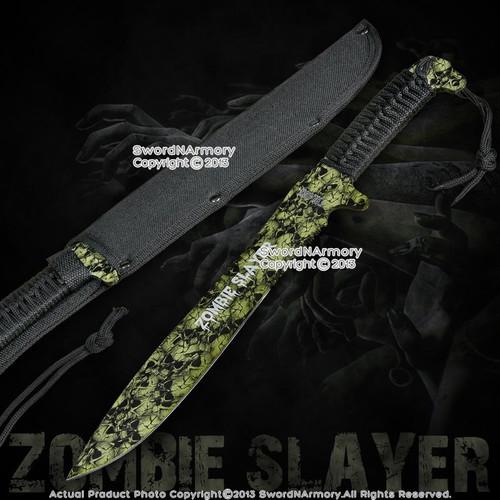 """16"""" Full Tang Green Zombie Slayer Machete Killer Sword w/ Skull Printed on Blade"""