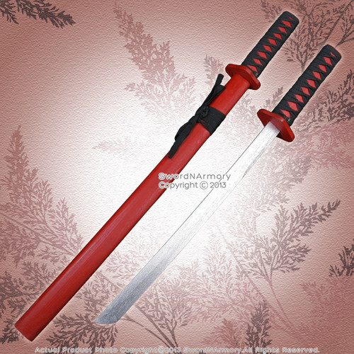"29"" Red Wooden Samurai Katana Sword w/ Scabbard Cosplay Video Game Weapons"