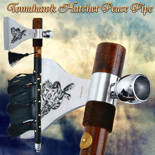 Tomahawk Hatchet Native Indian Chief Axe Functional Smoking Tabacco Peace Pipe 1