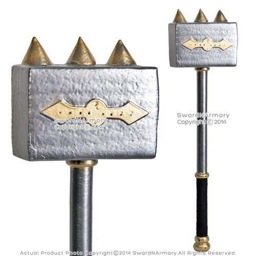 "28"" Fantasy LARP Foam Battle Hammer Latex Toy Video Game Weapon Anime Cosplay"