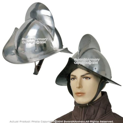 Medieval Renaissance Spanish Comb Morion Helmet Steel w/ Fake Leather Liner LARP