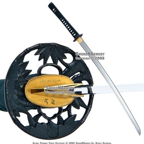 Black Musashi Handmade Samurai Katana Sword 1060 Differential Harden Steel Sharp