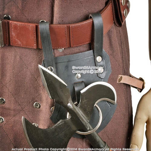 Genuine Leather Medieval Axe Hatchet Tomahawk Holder Belt Hanger Sword Frog LARP