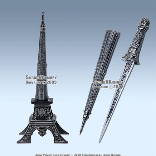 """10 """" Eiffel Tower Letter Opener Gift Knife Short Sword"""