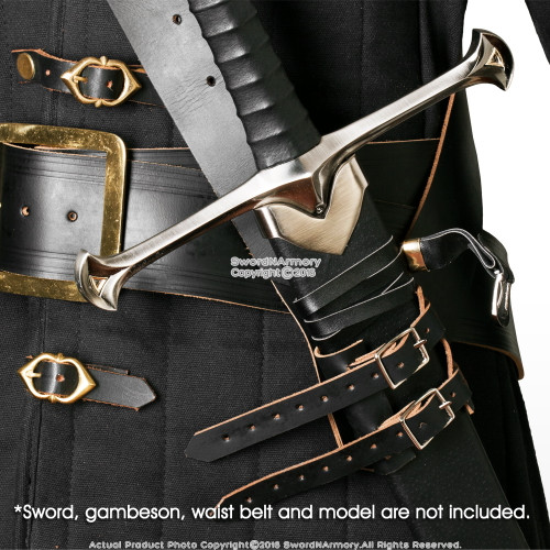 Black Genuine Leather Sword Belt Frog Hanger Baldric Renaissance Costume LARP