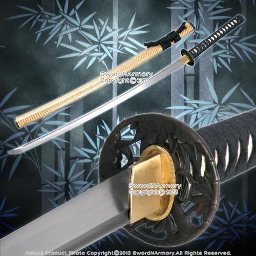 Musashi Handmade Folded Steel Samurai Katana Sword with Bamboo Tsuba Saya Scab