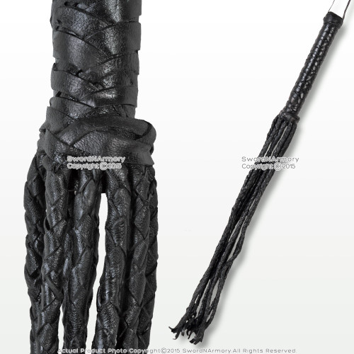 "24"" Cat O Nine Tail Scourge Black Leather Whip w/ 9 Individual Braided Strands"