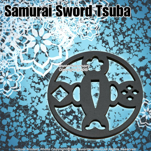 "3"" Diameter Fully Functional Iron Tsuba Metal Sword Guard for Japanese Katana"