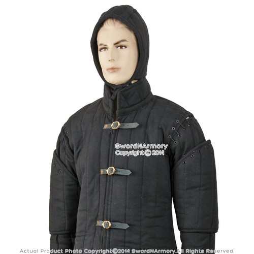 Black Gambeson Type I Medieval Padded Armour Coat SCA WMA Arming Jacket