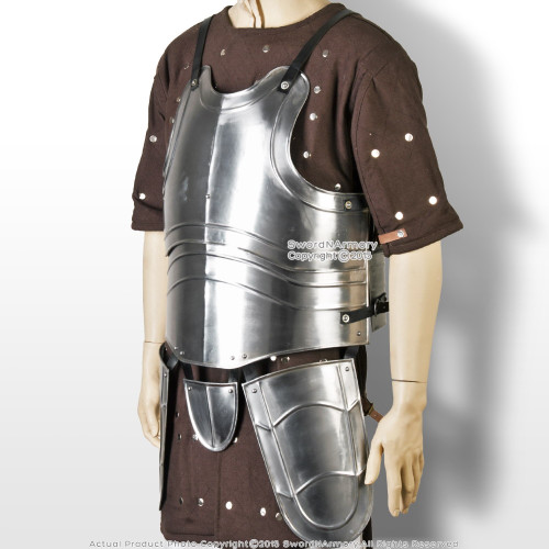 XL Medieval 20G Steel Breast Palte Body Armor with Tassets Fluted Cuirass LARP