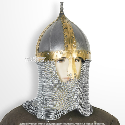 Functional Medieval Russian Boyar Helmet 16G Steel with Chainmail Camail SCA WMA