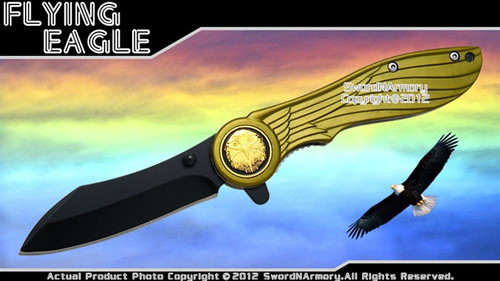 Flying Eagle Assisted Opening Knife Feather Look Pocket Folder Green Handle