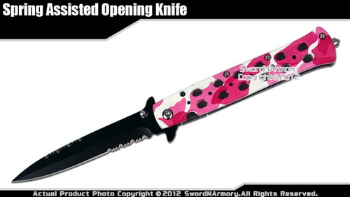 Pink Camo Stiletto Assisted Open Folding Pocket Knife Serrated w/ Glass Breaker