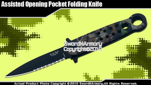 Camouflage Spring Assisted Opening Knife Pocket Folder