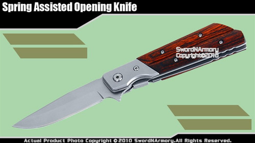 Spring Assisted Opening Knife Pocket Folder Wood Handle