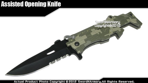 FN SCAR Gun Look Spring Assist Opening Tactical Knife Folder Army Green Camo