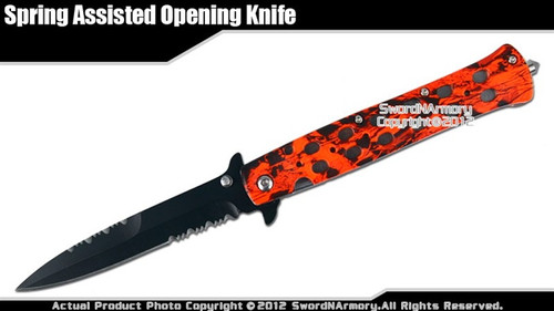 Red Camo Stiletto Assisted Open Folding Pocket Knife Serrated w/ Glass Breaker